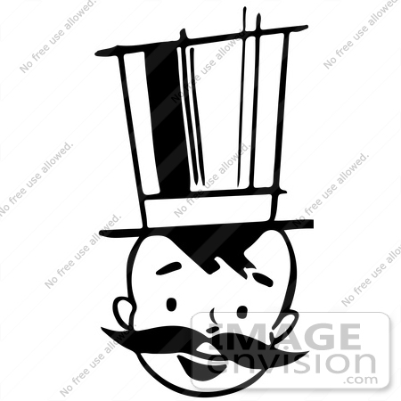 #61880 Clipart Of A Happy Retro Boy With A Mustache And Top Hat, In Black And White - Royalty Free Vector Illustration by JVPD