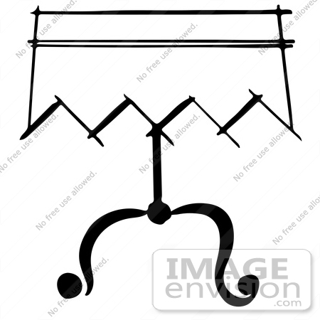 #61887 Clipart Of A Magician Table In Black And White - Royalty Free Vector Illustration by JVPD