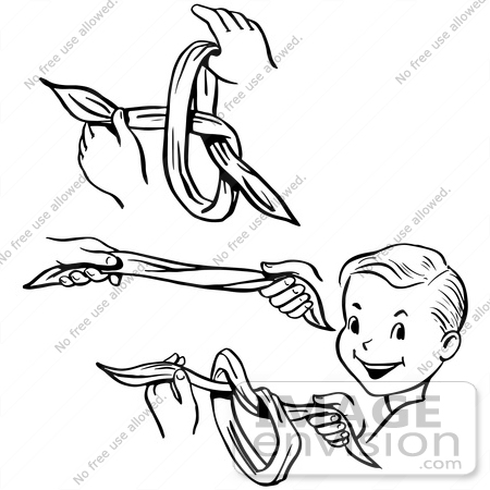 #61893 Clipart Of Steps Of A Retro Boy Performing A Vanishing Knot Magic Trick, In Black And White - Royalty Free Vector Illustration by JVPD