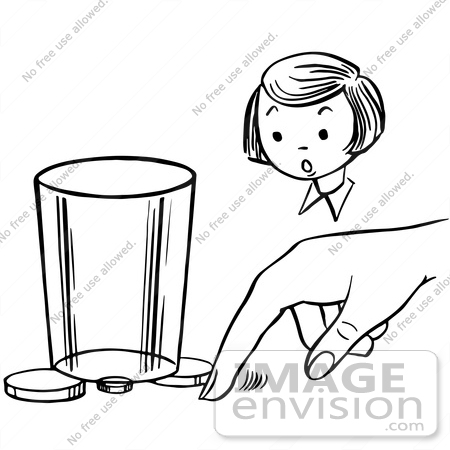 #61895 Clipart Of A Girl Watching A Boy Perform A Moving Coin Magic Trick, In Black And White - Royalty Free Vector Illustration by JVPD