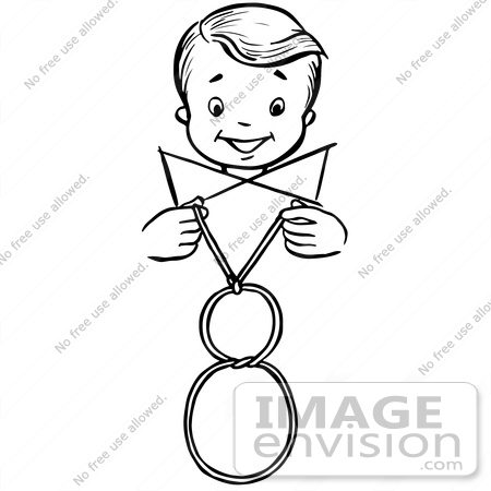 #61896 Clipart Of A Happy Retro Boy Performing A Vanishing Loop Magic Trick, In Black And White - Royalty Free Vector Illustration by JVPD