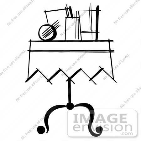 #61897 Clipart Of Items On A Magician Table In Black And White - Royalty Free Vector Illustration by JVPD