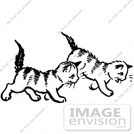 #61909 Clipart Of Two Kittens Walking In Black And White - Royalty Free Vector Illustration by JVPD