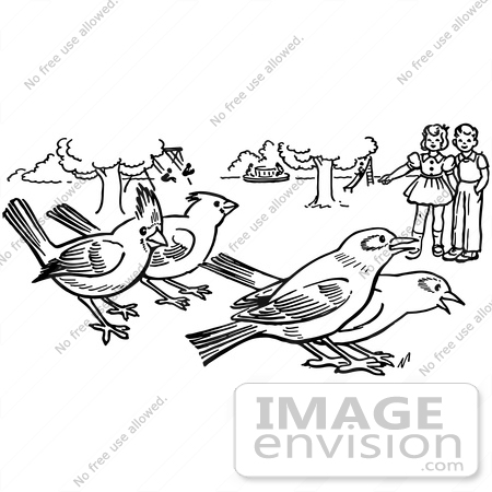 #61919 Clipart Of Children Watching Birds In A Park In Black And White - Royalty Free Vector Illustration by JVPD