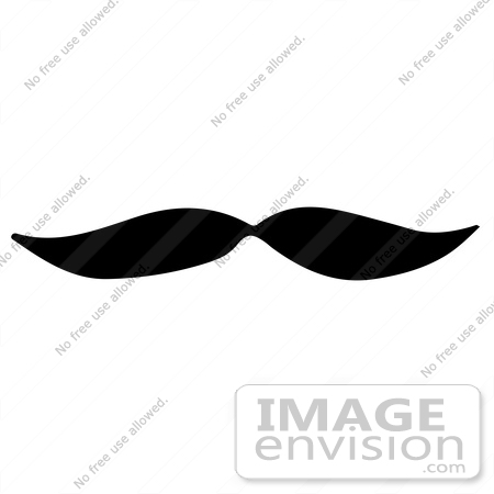#61922 Clipart Of A Mustache In Black And White - Royalty Free Vector Illustration by JVPD