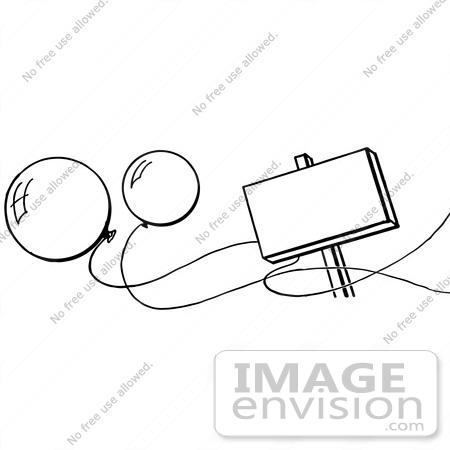 #61942 Clipart Of A Blank Sign And Party Balloons In Black And White - Royalty Free Vector Illustration by JVPD