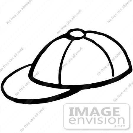 #61944 Clipart Of A Baseball Cap In Black And White - Royalty Free Vector Illustration by JVPD