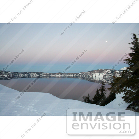 #627 Photo of a Full Moon Over Crater Lake at Dusk by Jamie Voetsch