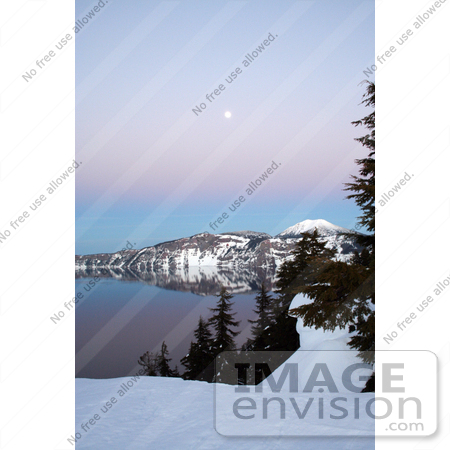 #628 Photo of Crater Lake at Dusk With a Full Moon by Jamie Voetsch