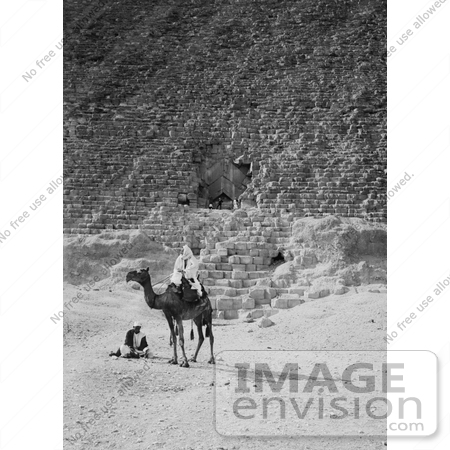 #6469 Men and Camel Near the Entrance to the Great Pyramid by JVPD