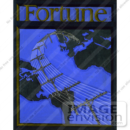 #6652 Telephone Lines and Globe on Cover of Fortune Magazine by JVPD