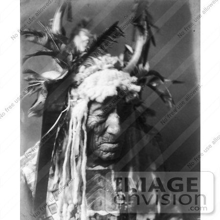 Black and white stock photo of a Hidatsa Indian man named Lean Wolf ...
