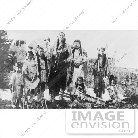 #7097 Stock Photography: Hunting Horse and Daughters, Kiowa Indians by JVPD
