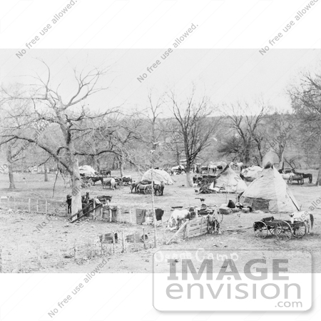 #7109 Stock Image of an Osage Indian Camp by JVPD