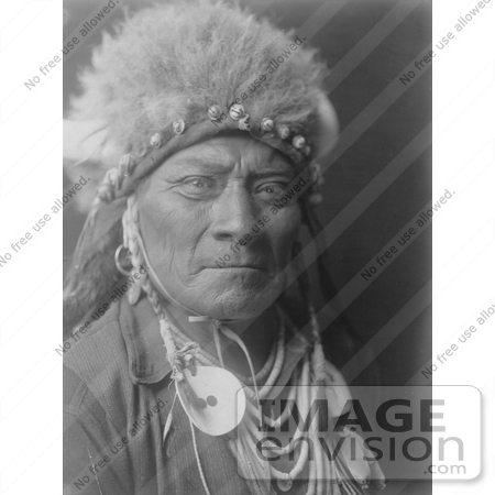#7115 Stock Photography: Crow Indian Man Called One Blue Bead by JVPD