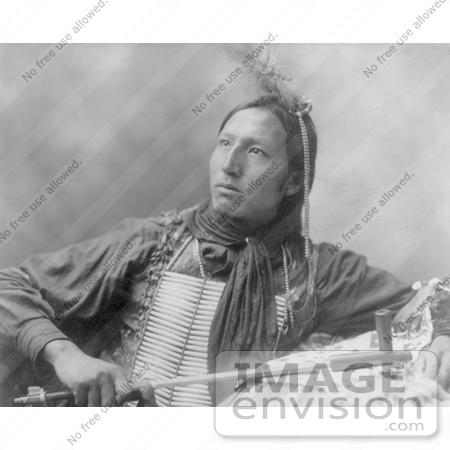 #7168 Stock Image: Sioux Indian Holding a Peace Pipe by JVPD
