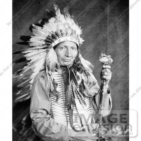 #7207 Stock Image: Sioux Native American Man Named Red Horn Bull by JVPD