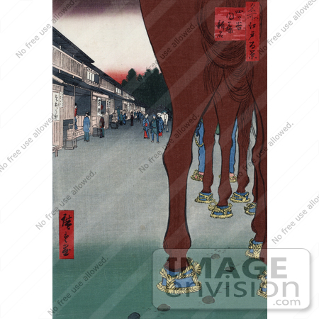 #7319 Photo of a Horse's Legs With a View of Shops, Japan by JVPD