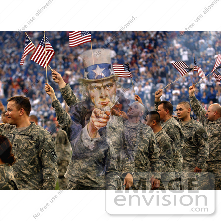 #7354 Stock Image: Uncle Sam Merged With Soldiers Waving American Flags by JVPD