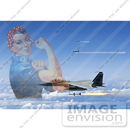 #7357 Rosie The Riveter and F-15 Eagles Firing AIM-7 Sparrow Missiles by JVPD