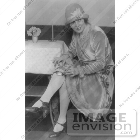 #7419 Stock Image of a Woman Hiding a Flask in Her Garter During Prohibition by JVPD