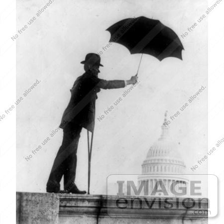 #7448 Stock Image of William D. Upshaw Holding Umbrella Over Capitol, Prohibition by JVPD