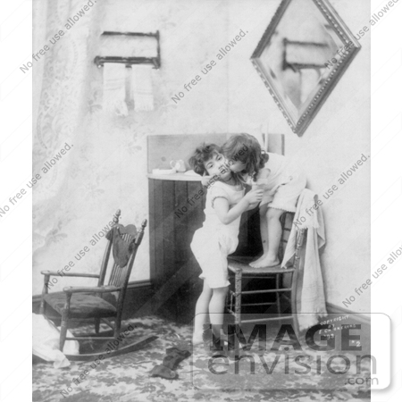 #7456 Stock Picture of Two Children Kissing by JVPD