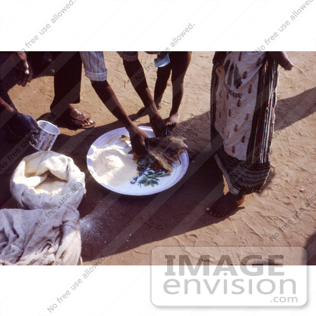 #7473 Picture of a Dry Food Distribution to an African Family at a Relief Camp During the Biafran War in Nigeria by KAPD