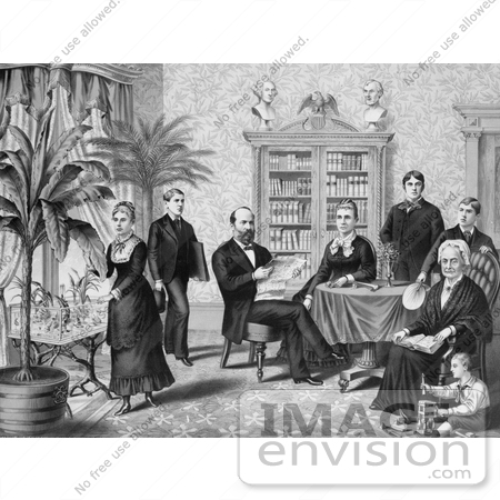 #7533 Image of President Garfield and Family in a Library by JVPD