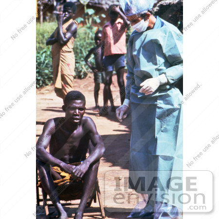 #7726 Picture of Health Official Preparing to Give a Zairian Man an Ebola Exam by KAPD