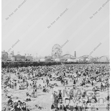 #7828 Photo of Crowded Coney Island Beach by JVPD