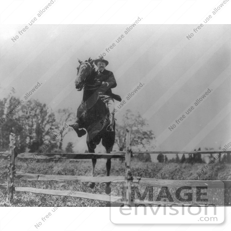 #7863 Picture of Roosevelt on Horse, Jumping Over Fence by JVPD