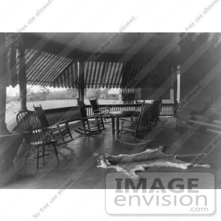 #7956 Picture of Sagamore Hill Porch With Furniture and Furs by JVPD
