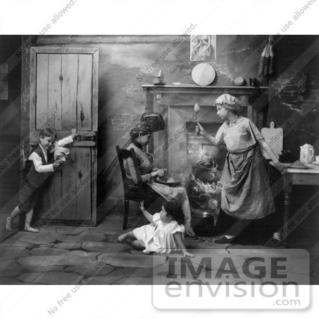 #8213 Picture of Boy Scaring a Little Girl in Kitchen by JVPD