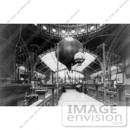 #8489 Picture of the Paris Exposition Building Interior With Balloons by JVPD