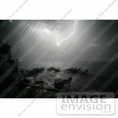 #8908 Picture of Lightning Near an Aircraft Carrier by JVPD