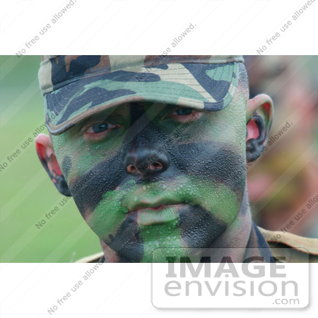 #8929 Picture of a Soldier With Face Paint by JVPD