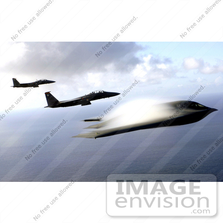 #8948 Picture of F-15E Strike Eagles and B-2 Bomber by JVPD
