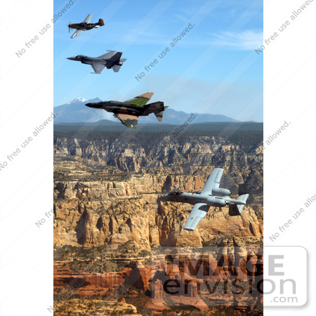 #8997 Picture of a P-51 Mustang, F-4 Phantom, A-10 Thunderbolt, F-16 Fighting Falcon by JVPD