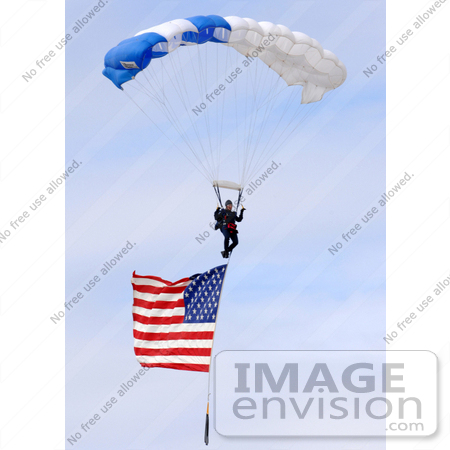 #9003 Picture of Parachuting With an American Flag by JVPD