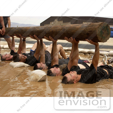 #9053 Picture of Men Lifting a Wooden Log by JVPD