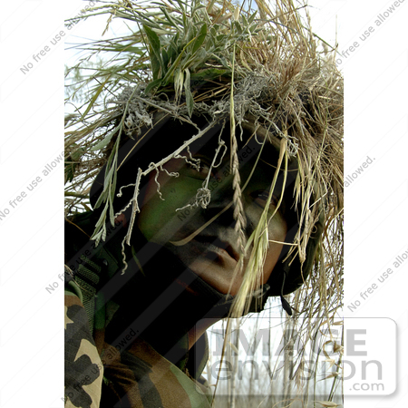 #9067 Picture of a Soldier in Full Camouflage by JVPD