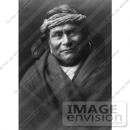#9080 Picture of an Acoma Indian Man Wearing Headband by JVPD