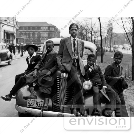 #9152 Image of African American Boys on a Car by JVPD