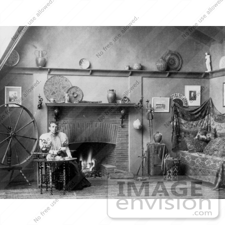 #9393 Picture of Frances Benjamin Johnston With Spinning Wheel by JVPD