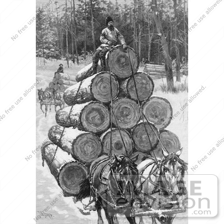 #9585 Picture of Horses Hauling Logs by JVPD