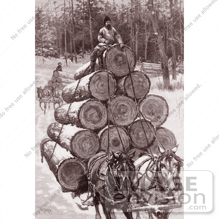 #9606 Picture of Horses Hauling Logs by JVPD