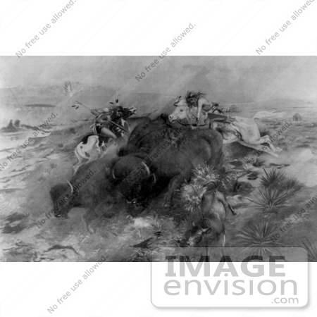 #9800 Picture of Indians Killing Buffalo by JVPD