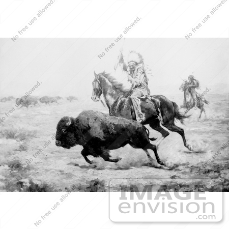 #9801 Picture of Native American Hunting Bison by JVPD