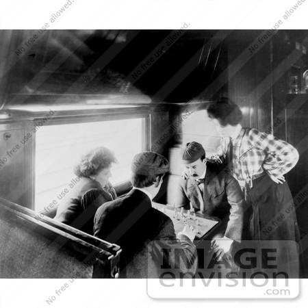 #9818 Picture of Men Playing Chess on a Train by JVPD